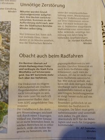 """""""Killerpoller"""" Weserradweg – MT von Samstag"""
